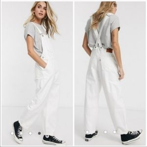 Levi's White Baggy Overalls in Clean Sweep